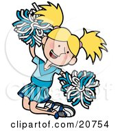 Clipart Illustration Of An Energetic Blond Cheerleader Girl In A Blue Uniform Jumping With Pom Poms by AtStockIllustration