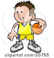 Clipart Illustration Of A Happy Boy In Uniform Holding A Basketball On His Hip by AtStockIllustration