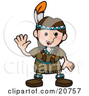 Clipart Illustration Of A Friendly Girl In A Native American Indian Costume Made Of Leather And Beads Wearing A Feather In Her Hair And Waving by AtStockIllustration