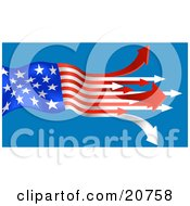 Clipart Illustration Of An American Flag With The Red And White Stripes Turning To Arrows Pointing Out On A Blue Background by AtStockIllustration