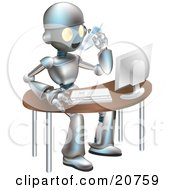 Poster, Art Print Of Professional Metallic Robot Character Talking On A Cell Phone And Working On A Computer At An Office Desk