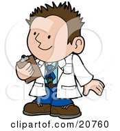 Clipart Illustration Of A Friendly Male Doctor In A White Coat Holding A Clipboard And Smiling While Talking With A Patient by AtStockIllustration