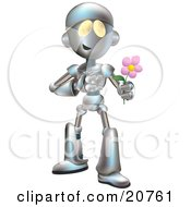 Sweet Metallic Robot Character Giving A Pink Flower To His Love