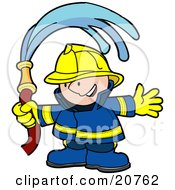 Happy Fireman In A Blue And Yellow Uniform And Hardhat Waving A Water Hose