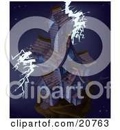 Clipart Illustration Of A Large Haunted Mansion House On Top Of A Hill Being Struck By Lightning In The Middle Of A Stormy Night by AtStockIllustration