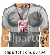 Clipart Illustration Of A Casual Man With Tattoos Wearing A Gray T Shirt And A Vip Backstage Pass Around His Neck by AtStockIllustration