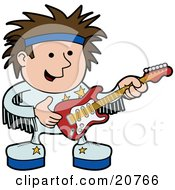 Clipart Illustration Of A Happy Male Rock Star In A White Uniform And Blue Headband Playing An Electric Guitar At A Concert by AtStockIllustration