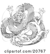 Clipart Illustration Of A Japanese Dragon With Scales Tangling Itself