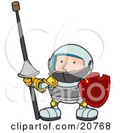 Clipart Illustration Of A Male Knight In Armour Holding A Lance With A Cork On The Sharp Tip And A Shield