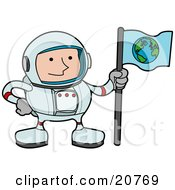 Clipart Illustration Of A Male Astronaut In A Space Suit Holding A World Flag And Standing On A Planet