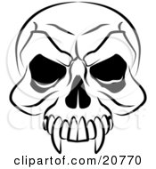 Clipart Illustration Of A Vampires Skull With Fanged Teeth And Deep Eye Sockets