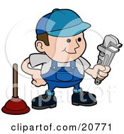 Clipart Illustration Of A Friendly Male Plumber In A Blue Uniform And Hat Holding A Wrench And Standing By A Plunger