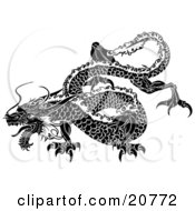 Clipart Illustration Of A Majestic Japanese Dragon With Scales Flying Through The Sky by AtStockIllustration #COLLC20772-0021