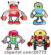 Clipart Illustration Of A Collection Of Four Red Green Green And Yellow Robots