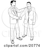 Clipart Illustration Of A Happy Client Shaking Hands With A Businessman Upon Agreement Of A Contract