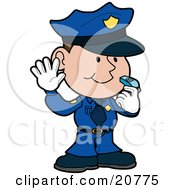Friendly Male Police Officer In A Blue Uniform And White Gloves Holding His Hand Up And Blowing A Whistle While Directint Traffic