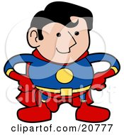 Clipart Illustration Of A Strong Super Hero Man In A Red Yellow And Blue Uniform Standing With His Hands On His Hips