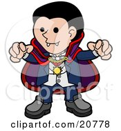 Clipart Illustration Of A Spooky Dracula Vampire In A Cape Reaching His Hands Outwards And Showing His Fangs