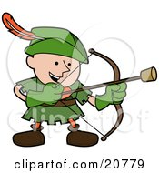 Clipart Illustration Of A Happy Boy In A Green Robin Hood Costume Shooting An Arrow With A Cork On The Tip by AtStockIllustration