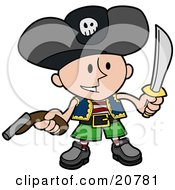Happy Boy In A Pirates Costume Wearing A Jolly Roger Hat Holding A Pistil And A Sword