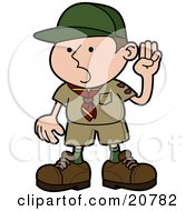Clipart Illustration Of A Proud Little Boyscout In Uniform Holding His Hand Up And Pledging by AtStockIllustration