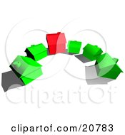 Clipart Illustration Of A Red House In The Center Of Green Houses In A Cul De Sac