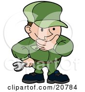 Clipart Illustration Of An Engineer Mechanic Or Plumber Man In A Green Uniform Rubbing His Chin While In Thought And Holding A Wrench