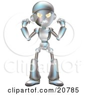 Clipart Illustration Of An Angry Metallic Robot Character Waving His Fists by AtStockIllustration
