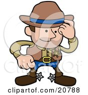 Western Cowboy Sheriff Man In Chaps And Spurs Tipping His Hat