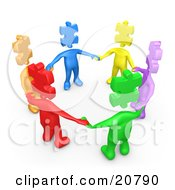 Group Of Colorful And Diverse People With Puzzle Piece Heads Standing In A Circle And Holding Hands