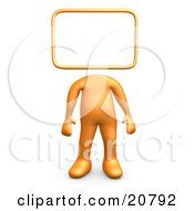 Orange Person Standing With A Blank Sign Or Message Board Head
