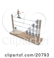 Businessman Carrying A Beam And Balancing On An Abacus With Increasing Profits