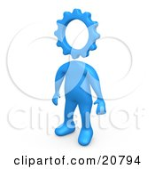Clipart Illustration Of A Creative Cog Headed Blue Person