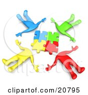 Clipart Illustration Of A Group Of Four Colorful Diverse People Lying In A Circle With Their Heads Connected