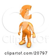 Orange Person Standing With A Euro Symbol As A Head by 3poD
