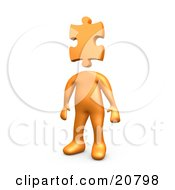 Clipart Illustration Of An Orange Person Standing With A Puzzle Piece As A Head Symbolizing Creativity