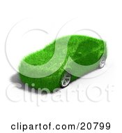 Clipart Illustration Of A Green Grassy Energy Efficient Car