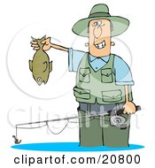 Clipart Illustration Of A Man Wading In Water And Holding His Fishing Rod And Catch