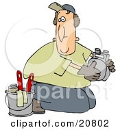 Clipart Illustration Of A Kneeling Gas Meter Man From The Gas Company Installing Or Repairing A Meter by djart