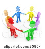 Clipart Illustration Of A Group Of Colorful Diverse People With Dollar Symbol Heads Holding Hands And Standing In A Circle by 3poD