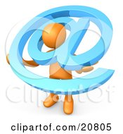 Poster, Art Print Of Orange Person Carrying A Large Blue At Email Symbol Around His Shoulders