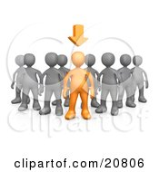 Clipart Illustration Of An Orange Person Leading A Group Of Gray People An Arrow Above His Head