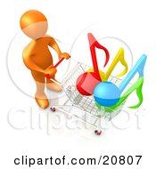 Poster, Art Print Of Orange Person Pushing A Shopping Cart With Music Notes In It Symbolizing Internet Music Downloads