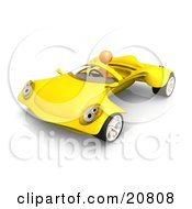 Clipart Illustration Of An Orange Person Driving A Futuristic Yellow Convertible Car