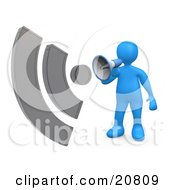 Clipart Illustration Of A Blue Person Shouting Through A Megaphone With Sound Waves by 3poD
