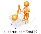 Clipart Illustration Of An Orange Person Pushing A Shopping Cart With An Orange Music Note Mp3 Music Downloads by 3poD
