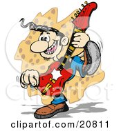 Poster, Art Print Of Hillbilly Musician Guitarist Man Playing And Dancing On Stage At A Music Concert