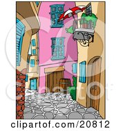 Clipart Picture Of A Cobblestoned Alley With Wooden Doors And Colorful Buildings And Balconies In Europe by Holger Bogen