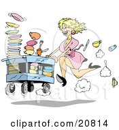 Fast Blond Waitress Woman In A Pink Dress And Black High Heels Rushing A Cart Of Dirty Dishes To Be Washed At A Restaurant
