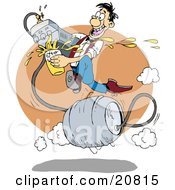 Clipart Picture Of A Fast And Talented Man Running On A Metal Barrel Beer Keg Pouring Liquor From A Faucet At A Bar by Holger Bogen